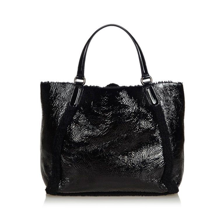 Gucci Black Patent Leather Leather Soho Cellarius Mouton Tote Italy In Good Condition In Orlando, FL