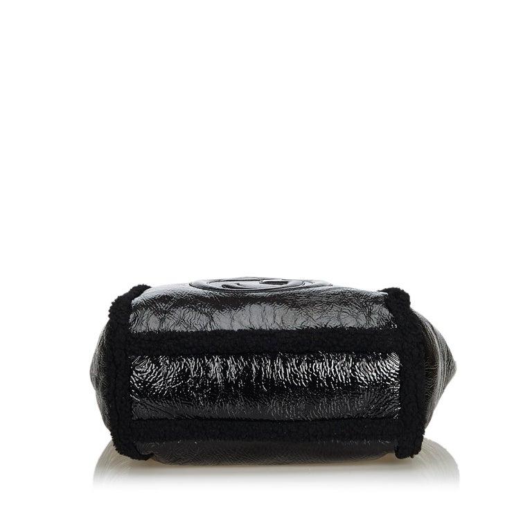 Women's Gucci Black Patent Leather Leather Soho Cellarius Mouton Tote Italy