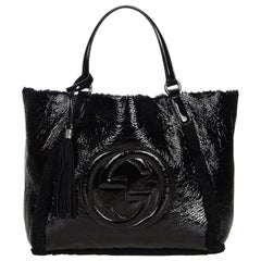 Gucci Black Patent Leather Leather Soho Cellarius Mouton Tote Italy
