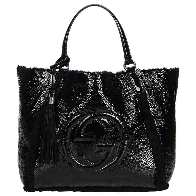 Gucci Black Patent Leather Leather Soho Cellarius Mouton Tote Italy