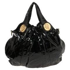 Gucci Black Patent Leather Medium Hysteria Hobo