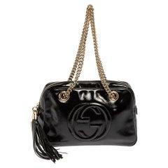 Gucci Black Patent Leather Medium Soho Chain Shoulder Bag