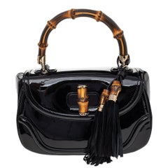 Gucci Black Patent Leather New Bamboo Top Handle Bag