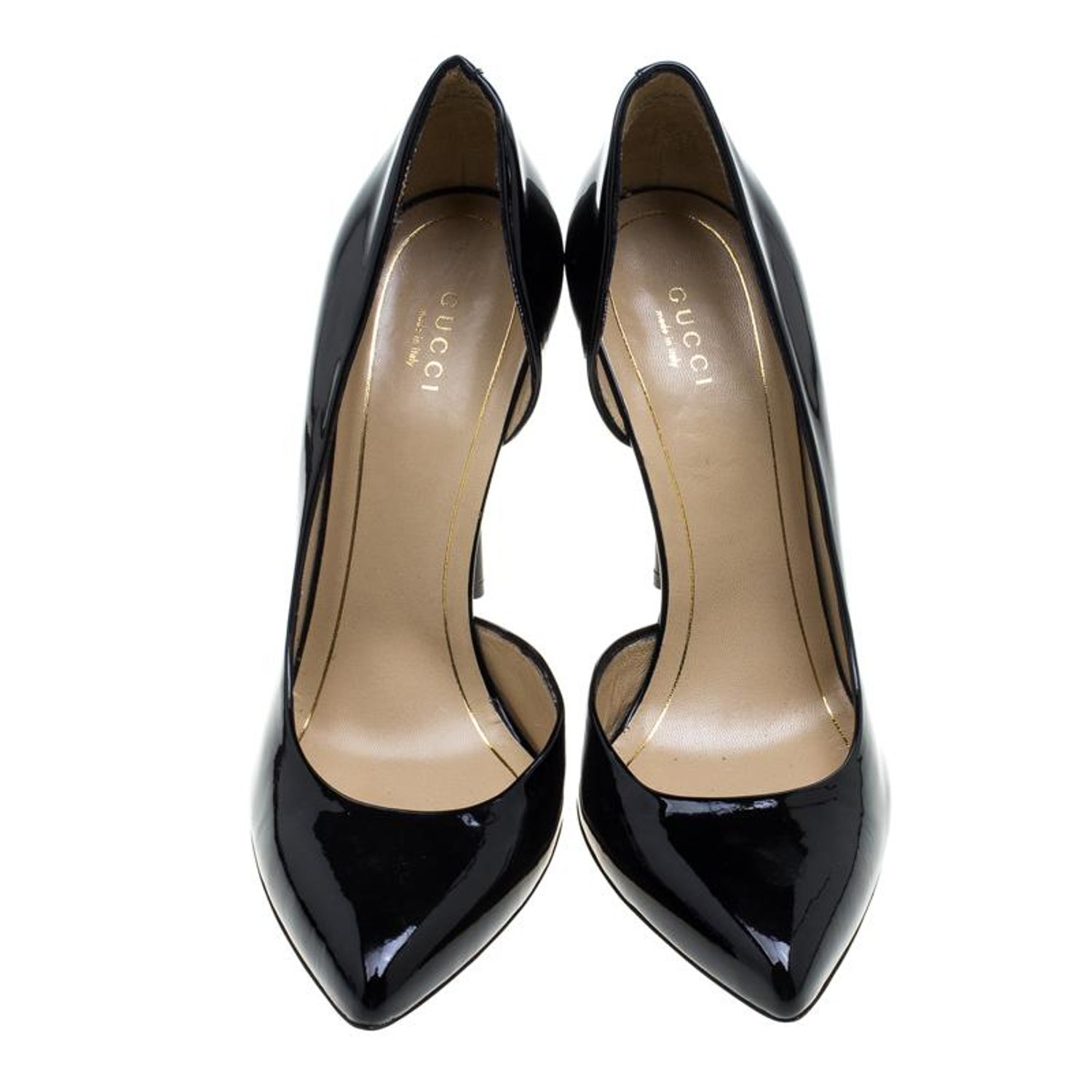 1cfbc0d8b57 Gucci Black Patent Leather Noah Pointed Toe D Orsay Pumps Size 39 at 1stdibs