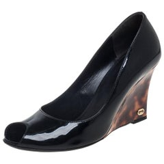 Gucci Black Patent Leather Peep Toe Wedge Pumps Size 36.5