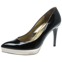 Gucci Black Patent Leather Pointed Toe Platform Pumps Size 37