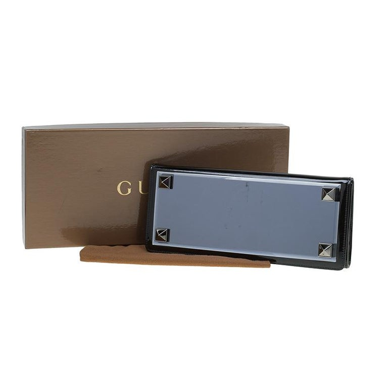 Gucci Black Patent Leather Tempered Glass Broadway Clutch For Sale 8