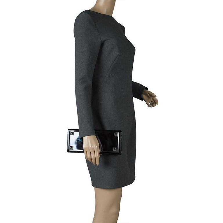Gucci Black Patent Leather Tempered Glass Broadway Clutch In Good Condition For Sale In Dubai, Al Qouz 2