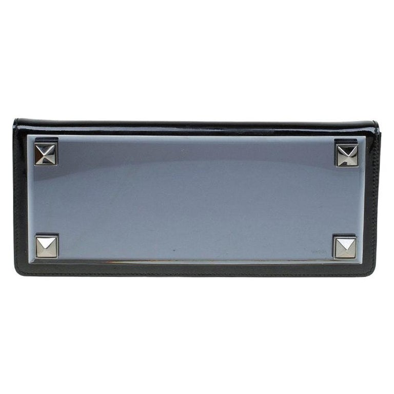 Gucci Black Patent Leather Tempered Glass Broadway Clutch For Sale