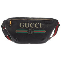 Gucci Black Pebbled Leather Logo Web Belt Bag
