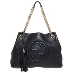 Gucci Black Pebbled Leather Medium Soho Tote