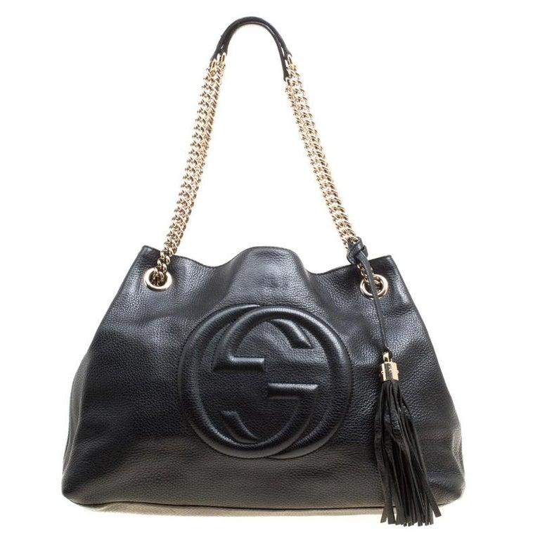 ed2012d82ed Gucci Black Pebbled Leather Medium Soho Tote at 1stdibs