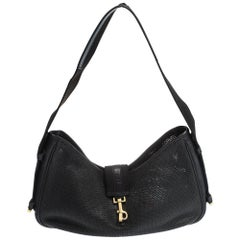 Gucci Black Perforated Leather and Canvas Vintage Jackie Shoulder Bag