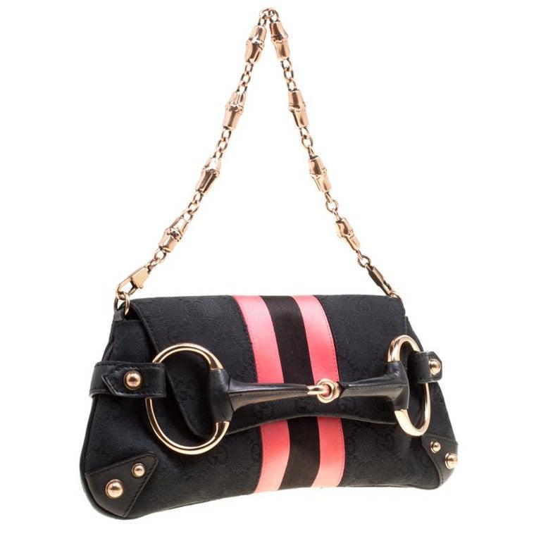 Gucci Black/Pink GG Canvas and Satin  Horsebit Web Chain Clutch In Good Condition For Sale In Dubai, Al Qouz 2