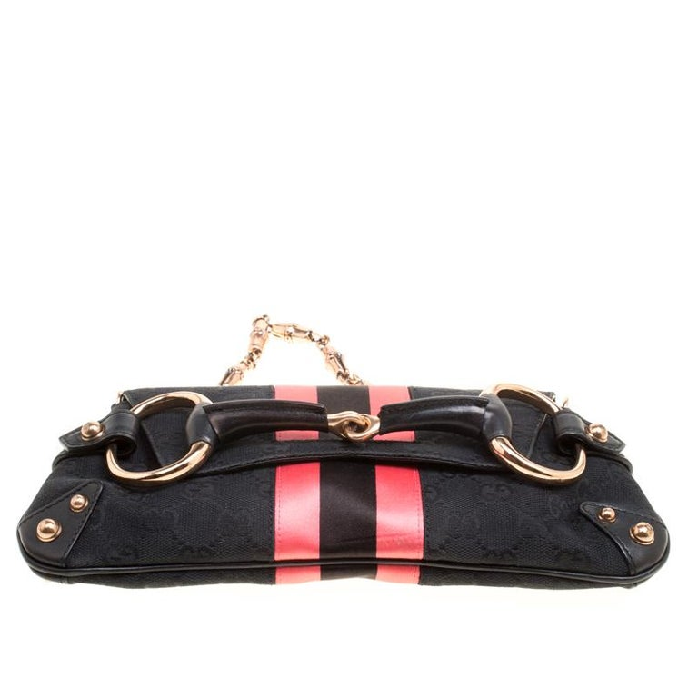 Gucci Black/Pink GG Canvas and Satin  Horsebit Web Chain Clutch For Sale 2