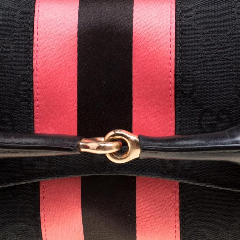 Gucci Black/Pink GG Canvas and Satin  Horsebit Web Chain Clutch For Sale 3
