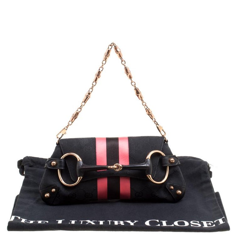 Gucci Black/Pink GG Canvas and Satin  Horsebit Web Chain Clutch For Sale 4