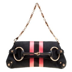 Gucci Black/Pink GG Canvas and Satin  Horsebit Web Chain Clutch