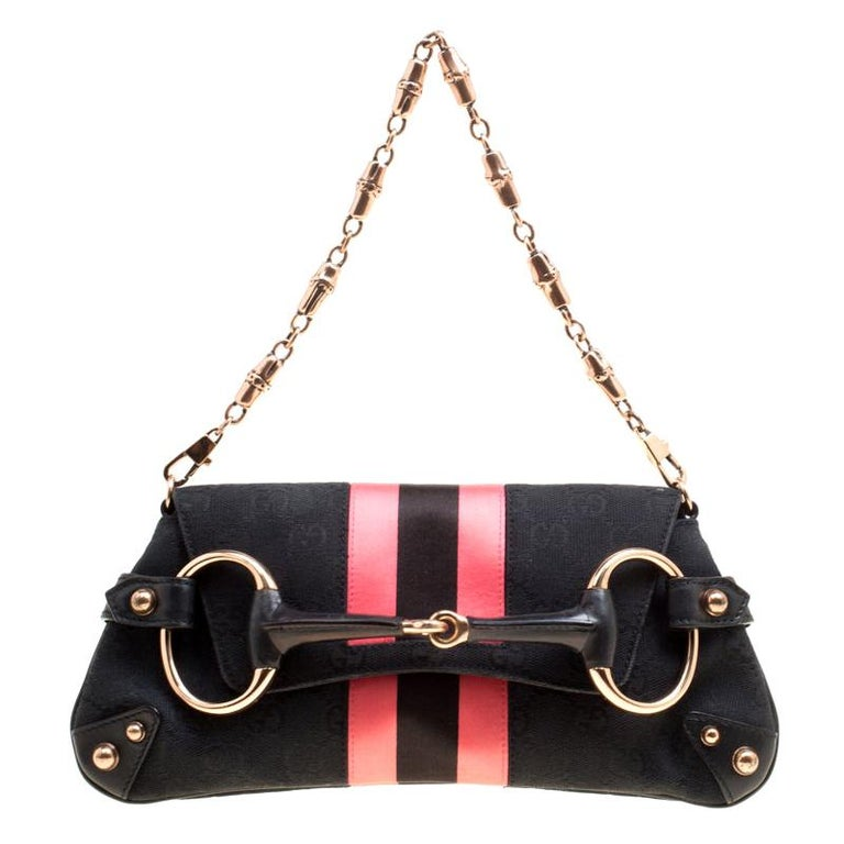 Gucci Black/Pink GG Canvas and Satin  Horsebit Web Chain Clutch For Sale