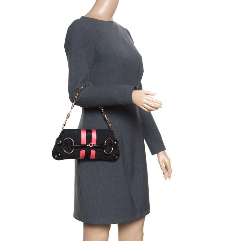 Gucci Black/Pink GG Canvas and Satin Small Limited Edition Web Chain Clutch In Good Condition For Sale In Dubai, Al Qouz 2