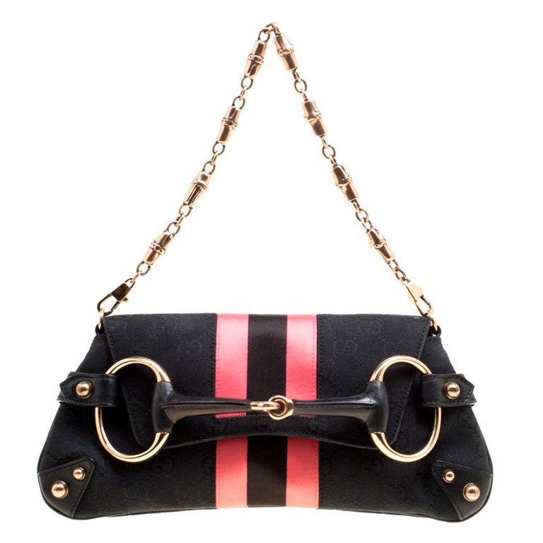 Gucci Black/Pink GG Canvas and Satin Small Limited Edition Web Chain Clutch For Sale