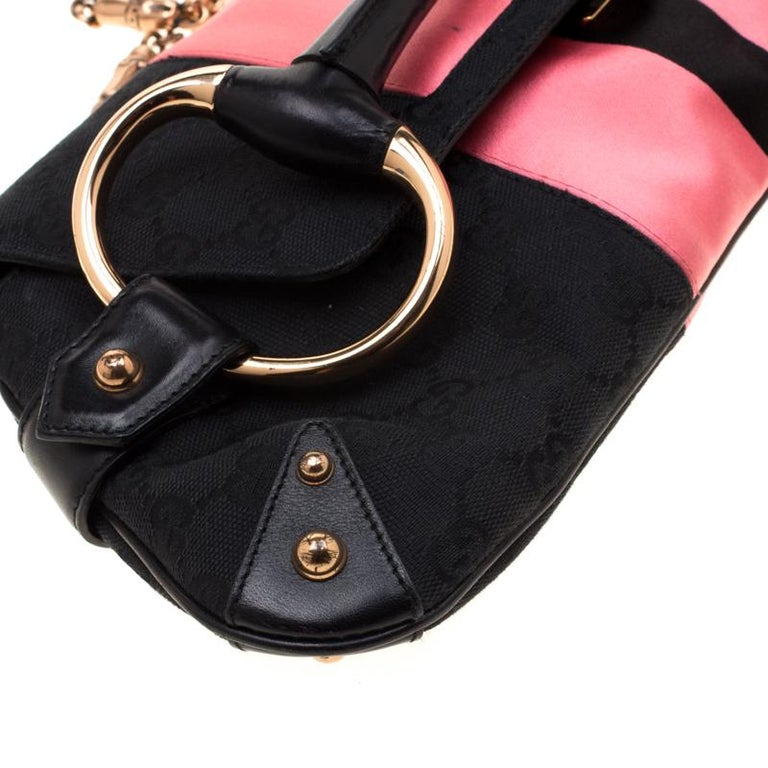 Gucci Black/Pink  Satin Small Limited Edition Tom Ford Horsebit Web Chain Clutch For Sale 7