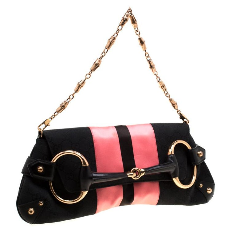 Women's Gucci Black/Pink  Satin Small Limited Edition Tom Ford Horsebit Web Chain Clutch For Sale