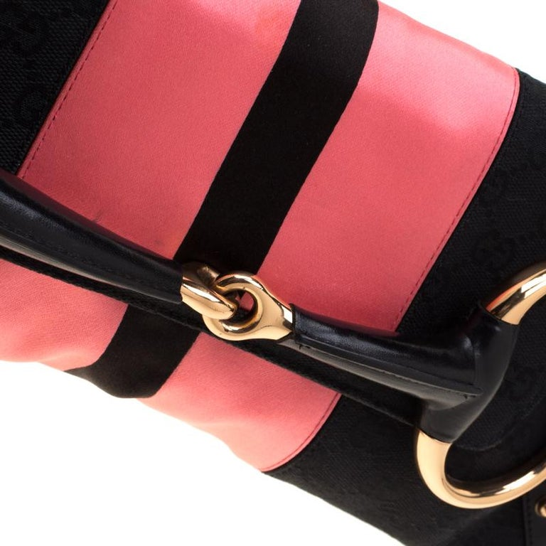 Gucci Black/Pink  Satin Small Limited Edition Tom Ford Horsebit Web Chain Clutch For Sale 5