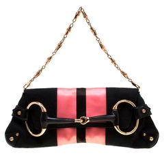 Gucci Black/Pink  Satin Small Limited Edition Tom Ford Horsebit Web Chain Clutch