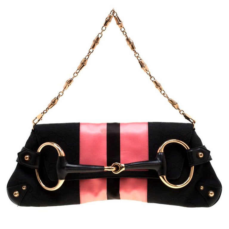 Gucci Black/Pink  Satin Small Limited Edition Tom Ford Horsebit Web Chain Clutch For Sale