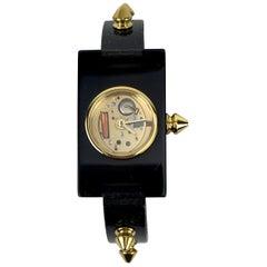 Gucci Black Plexi Watch 1435 Skeleton Gold Studs Never Worn