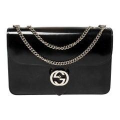 Gucci Black Polished Leather Interlocking G Shoulder Bag