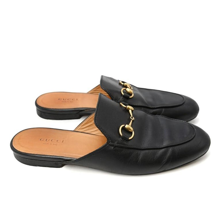 Gucci Black Princeton Horsebit Leather Backless Loafer US 7 In Excellent Condition For Sale In London, GB