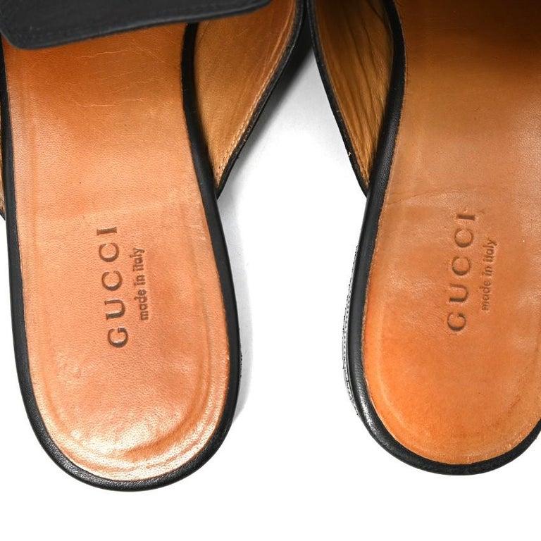 Women's Gucci Black Princeton Horsebit Leather Backless Loafer US 7 For Sale