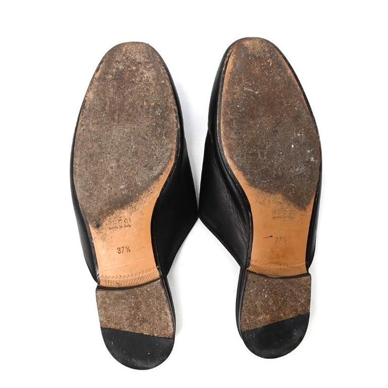 Gucci Black Princeton Horsebit Leather Backless Loafer US 7 For Sale 1