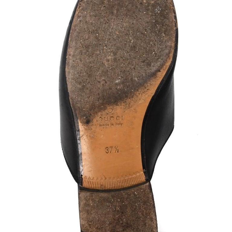 Gucci Black Princeton Horsebit Leather Backless Loafer US 7 For Sale 2