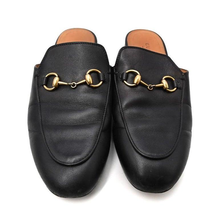 Gucci Black Princeton Horsebit Leather Backless Loafer US 7 For Sale 3