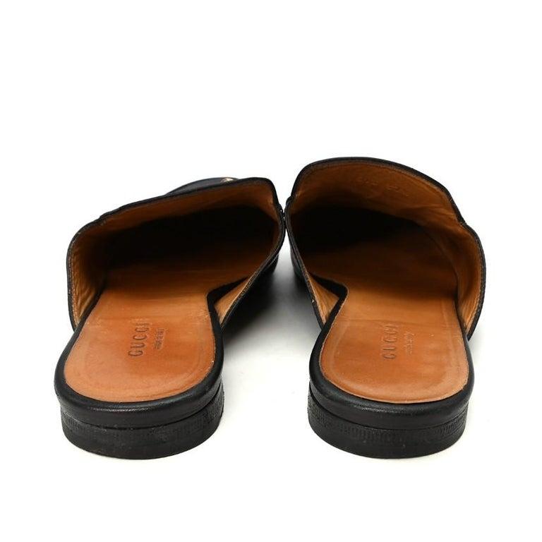 Gucci Black Princeton Horsebit Leather Backless Loafer US 7 For Sale 4