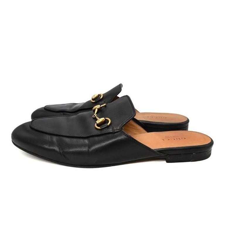 Gucci Black Princeton Horsebit Leather Backless Loafer US 7 For Sale 5
