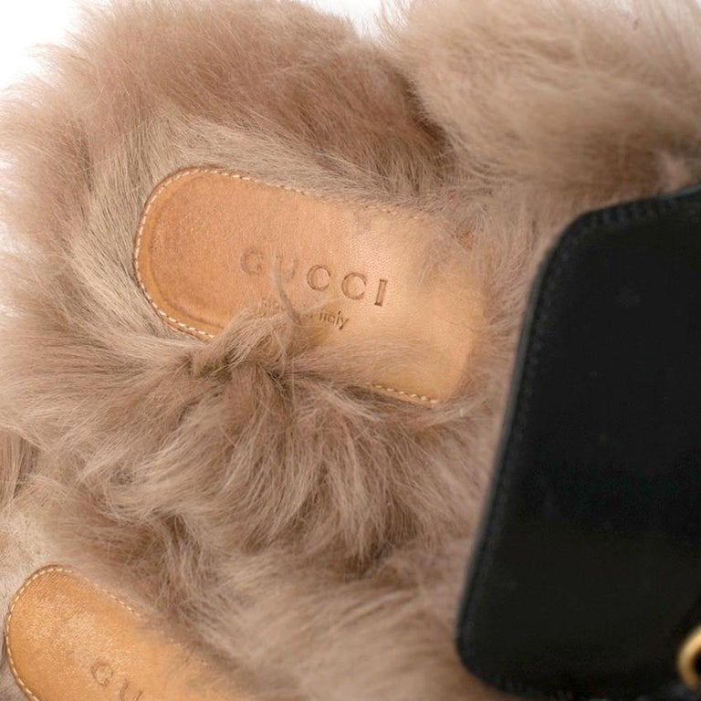 Gucci Black Princetown Leather Fur Lined Mules 40  For Sale 1