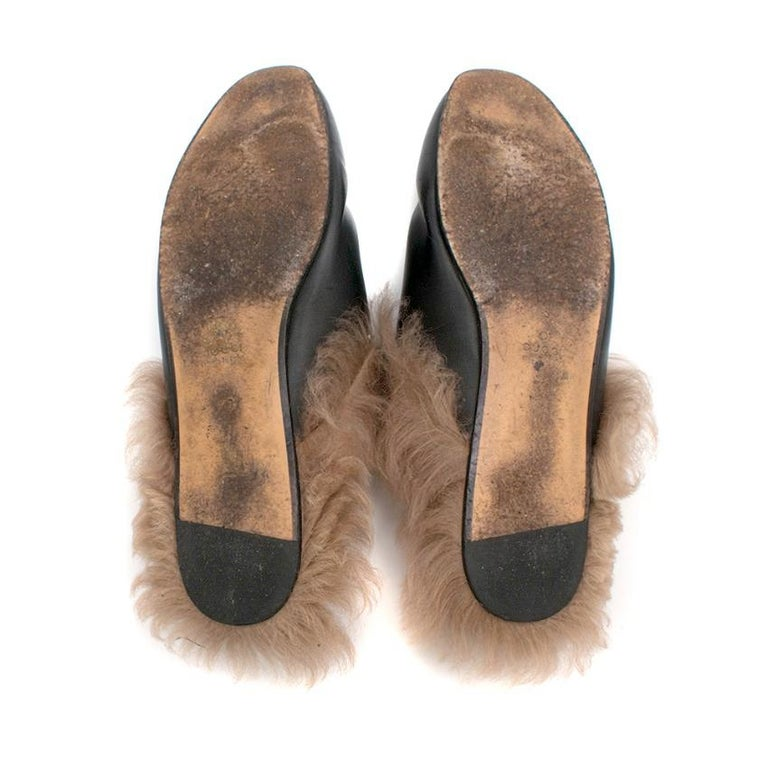 Gucci Black Princetown Leather Fur Lined Mules 40  For Sale 2
