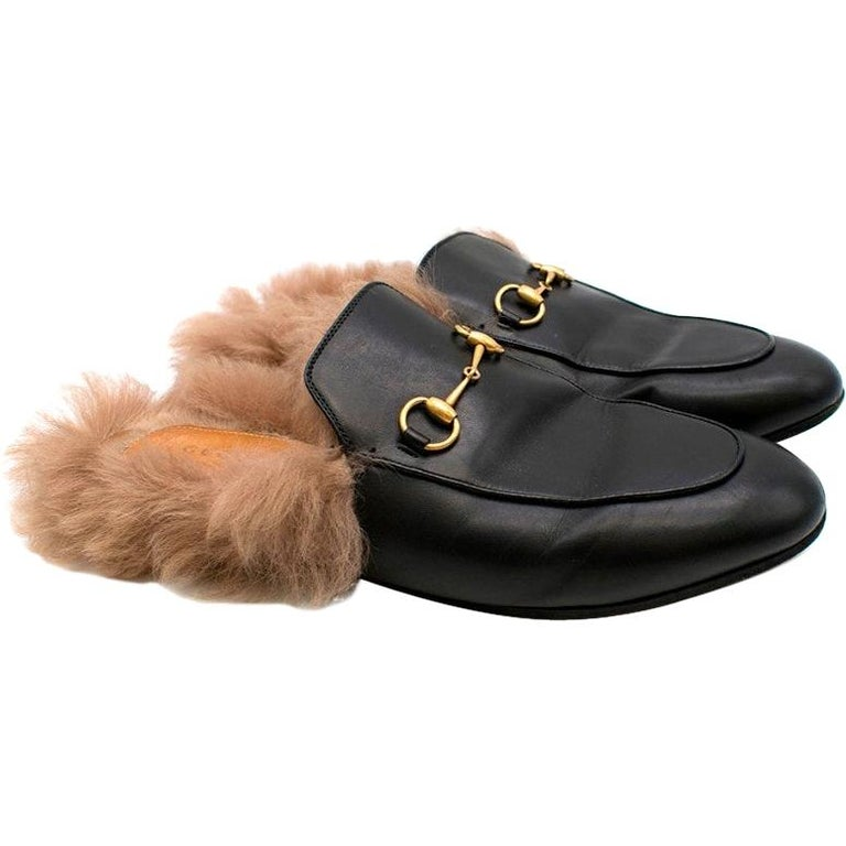 Gucci Black Princetown Leather Fur Lined Mules 40  For Sale