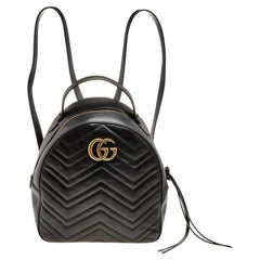 Gucci Black Quilted Leather GG Marmont Backpack