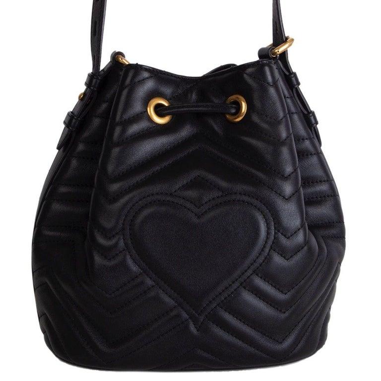 Black GUCCI black quilted leather GG MARMONT MATELASSE Bucket Shoulder Bag For Sale