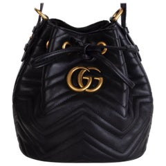 GUCCI black quilted leather GG MARMONT MATELASSE Bucket Shoulder Bag