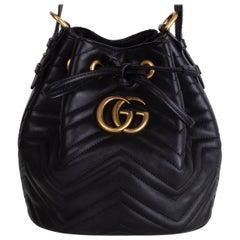 GUCCI black quilted leather GG MARMONT MATELASSE Bucket Shoulder Bag