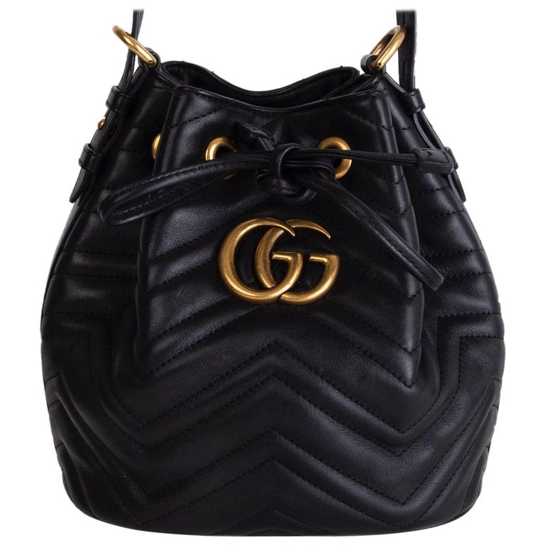 GUCCI black quilted leather GG MARMONT MATELASSE Bucket Shoulder Bag For Sale