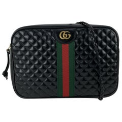 Gucci Black Quilted Leather GG Small Messenger Shoulder Bag