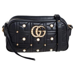 Gucci Black Quilted Leather Small Studs and Pearl GG Marmont Crossbody Bag