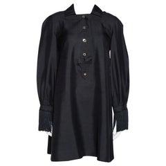 Gucci Black Raw Silk Fringe Detail Long Sleeve Tunic Dress M